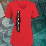 Backdraft Motorsports Ladies Sport Tek Shirt in Red and Gray